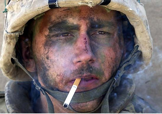 marine with cigarette in mouth